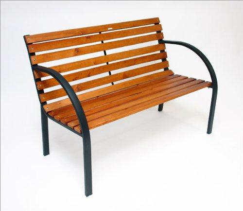 DEMA Parkbank Modern 122 cm Holz/Metall