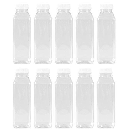 Pexale Kunststoff-Behälter für Saft/Dressing, quadratisch, mit weißen Tamper Evident Caps von Pexale, 10 Stück 10er-Pack farblos -