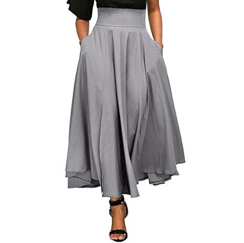 Damen Einfarbig Hohe Taille Faltenrock A Linie Langen Rock Seitenschlitz Belted Tasche Maxirock (XL, Grau) (Überprüfen Faltenrock Sie)