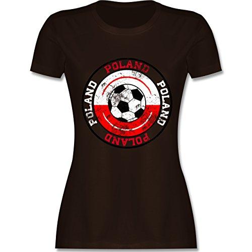EM 2016 - Frankreich - Poland Kreis & Fußball Vintage - tailliertes Premium T-Shirt mit Rundhalsausschnitt für Damen Braun