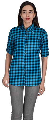 Nakoda Creation Women's/Girl's Cotton checkered 3/4th Sleeve Shirt(Blue)  available at amazon for Rs.249