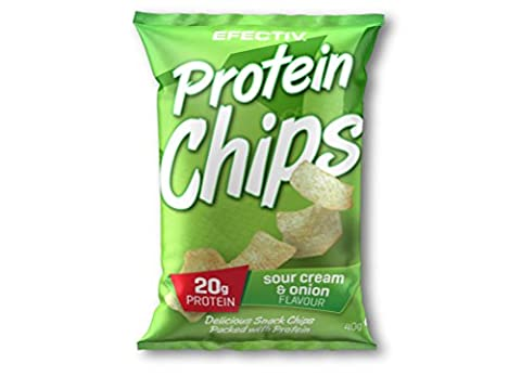 Efectiv Sports Nutrition Protein Chips, Sour Cream and Onion, Pack of 6