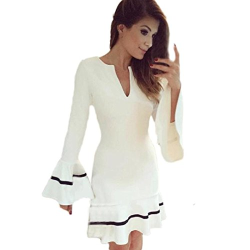 Amlaiworld Femmes Automne hiver Tunique Party robe Bodycon Blanc