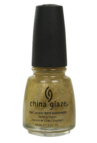 Golden Glazes (China Glaze Nail Lacquer with Hardner - 3D Glitter Effect - golden Enchantment, 1er Pack (1 x 14 ml))