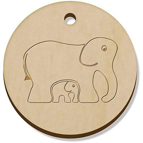 Azeeda 11 x 34mm 'Elefantes' Colgante de Madera (PN00015132)