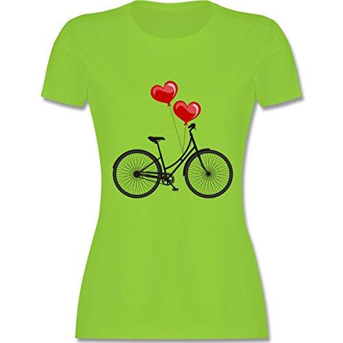 Vintage - Fahrrad Herz Luftballons - tailliertes Premium T-Shirt mit Rundhalsausschnitt für Damen Hellgrün