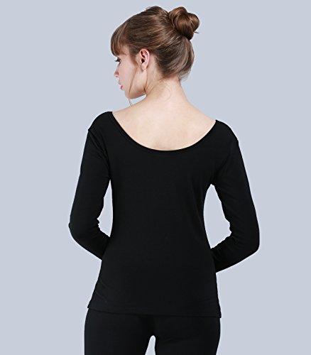Liang Rou Damen U-Außchnitt Stretch Langarm Thermounterwäsche Oberteile Schwarz