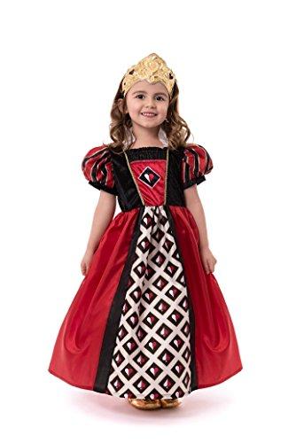 Hearts Of Kostüm Girl Queen - Little Adventures Kostüm Queen of Hearts mit weicher Krone Medium Age 3-5 rot