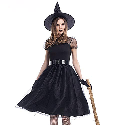 SALUCIA Hexe Kostüme Damen Halloween Langes Kleider Fasching Karneval Festival Cosplay Kostüm Zauberin Dark Lady Verkleidung - inkl Kleid, Handschuhe, Hut und - Sexy Zauberin Kostüm
