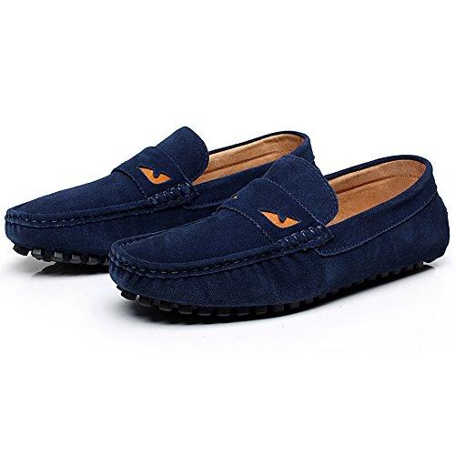 Enllerviid Herren überstreifen Driving Mokassins Wildleder Halbschuhe Schuhe Marine3