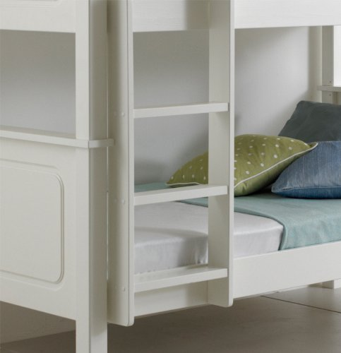 Happy Beds Bunk Bed Vancouver Pinewood White Two Sleeper Quality Solid Pine Wood Frame 3' Single 90 x 190 cm