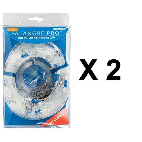 Flashmer - Palangre Pro 100 m x 2, 2 X 20 Hameçons2/0