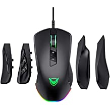 VicTsing Gaming Mouse 【14 Programmable Buttons & 24'000 DPI】 RGB 4-in-1 Wired Game Mouse with 4 Magnetic Interchangeable Side Plates, Laptop PC Computer Gaming Mice for Gamer - Black