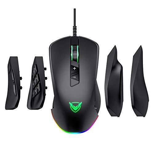 VicTsing Gaming Maus 【14 programmierbare Tasten & 24'000 DPI 】 RGB 4-in-1 kabelgebundene Spielmaus mit 4 magnetischen austauschbaren Seitenteilen, Laptop, PC, Gaming, Mäuse für Gamer - Schwarz - Sony Windows Xp Laptops