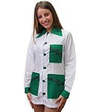 Bata casaca maestra escolar Asilo estética navideño trabajo botones algodón, verde, XS