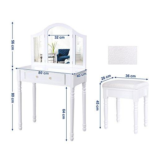 Songmics specchi da tavolo bianco con sgabello consolle mobile da toeletta per camera da letto - Mobile da toeletta moderno ...