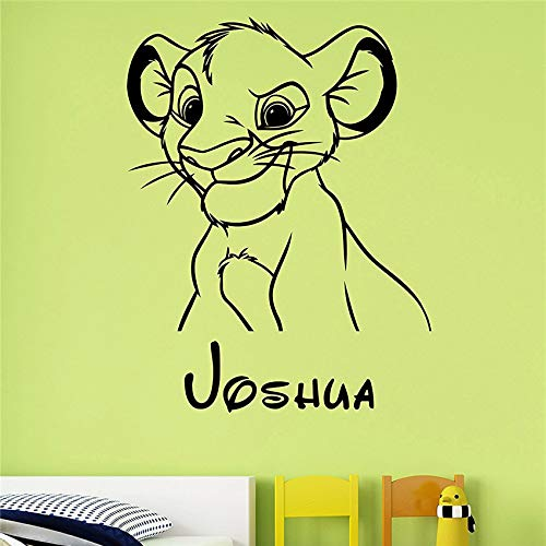 ljradj Benutzerdefinierter Name Simba Wandaufkleber Art Lion King Dekoration Familie Kind Junge Zimmer Kinderzimmer Schlafzimmer Personalisierte Dekoration 75 x 58 cm