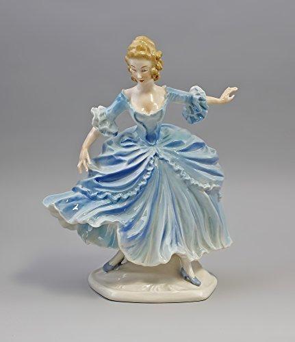 Porzellanfigur Rokoko-Tänzerin mit blauem Kleid