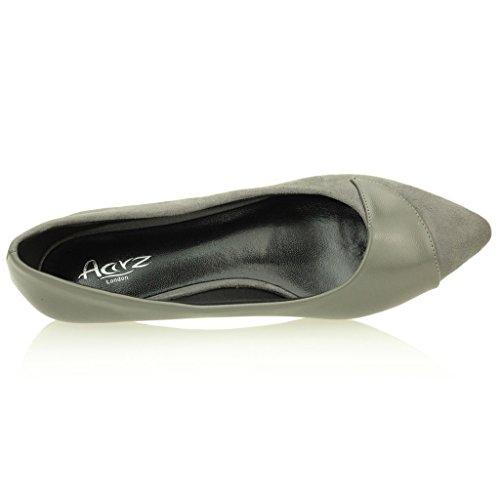 Femmes Dames Soirée Casual Tribunaux Bas Kitten Heel Mariage Party Sandale Taille de chaussures (Noir, Gris) Gris
