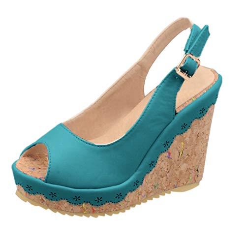 Buckle Mule Sandals (BASACASandalenDamenFrauenSchnalle KnöchelriemenWedges Fischmund Atmungsaktive SchuheFrauMode2019 (35 EU, Grün))