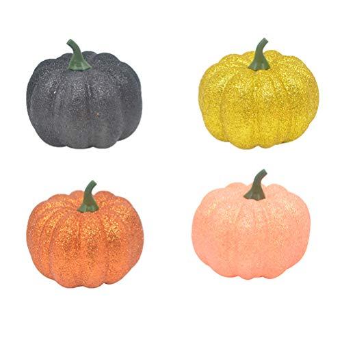Amosfun 4pcs künstlicher Kürbis-Schaum-Kürbis für Halloween-Fall und Erntedank-Dekoration (Mini-kürbisse Mit Halloween-basteln)