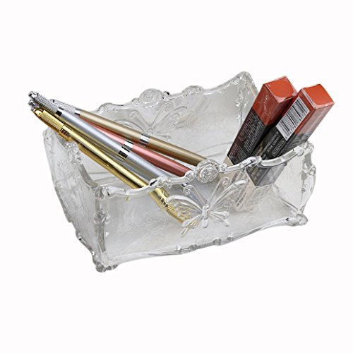 Rétro boîte de rangement de maquillage,Sensail Nouveau Maquillage Boîte De Rangement Case Holder Brosse Stylo Organisateur Acrylique Clair Nouveau (17cm x12cm x7cm, Blanc)