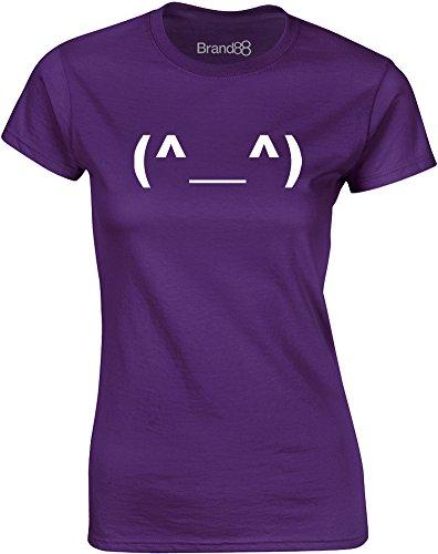 Brand88 - Happy Emoticon, Gedruckt Frauen T-Shirt Lila/Weiß
