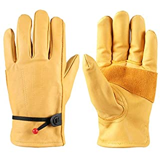 Wear-resistant Durable Leather Work Gloves For Men and Women, with wrist, ideal for yard work, gardening, construction, fence fix, wood cutting, warehouse, landscaping, digging, planting (Medium)