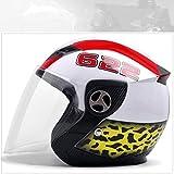 Helm Männer und Frauen Elektro Motorrad Helm Vier Jahreszeiten Persönlichkeit Kühle Halb abgedeckt Helm Anti-Fog Half Helm (Farbe : Weiß)