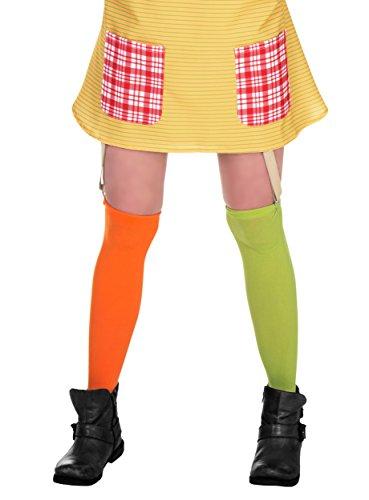 Maskworld Pippi Langstrumpf Kniestrümpfe für Damen grün/orange (S-L)