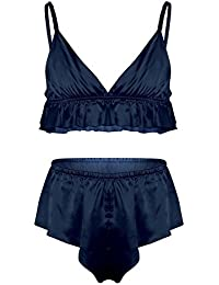 78cff7d159 CHICTRY Men's Frilly Silky Bra French Knickers Xdress 2 Piece Sissy  Lingerie Set