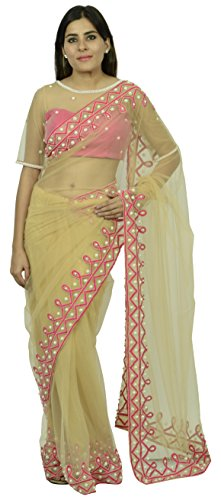 Essay By Salim Asgarally Women's Net Tissue Saree (Gold)