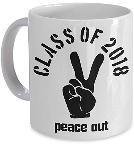 (Class of 2018 Peace Out Coffee Mug Funny Graduation High School College Gift Friend Classmate Graduate)