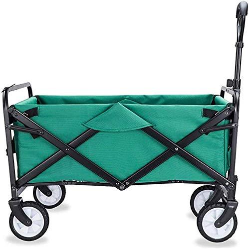 Xkcjtcfcarrelli pieghevoli con ruote richiudibili heavy duty con ruote freno, 60 kg / 132 libbre di capacità, e: verde