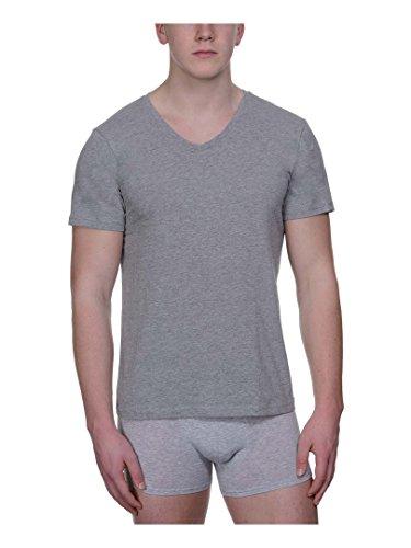 Bruno Banani 4 Pack Herren T-Shirt, V-Kragen Unterhemd Pure Cotton, (2x 2er Pack) Grau Melange