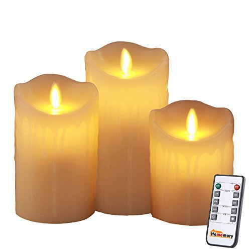 Homemory Battery Operated Flameless Candle with Timer, Set of 3 Tear Drip LED Votive Remote Candle, Electric Candle with Flickering Flame for Gift, Spa, Bathroom, Table, Wall Sconce