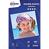 AVERY - 25 feuilles de papier photo 200g/m² brillant, Format A4, Impression jet d'encre,