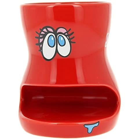 Promobo - Mug Tasse à café Biscuit Smiley Picto Slurp Design Fun Rouge