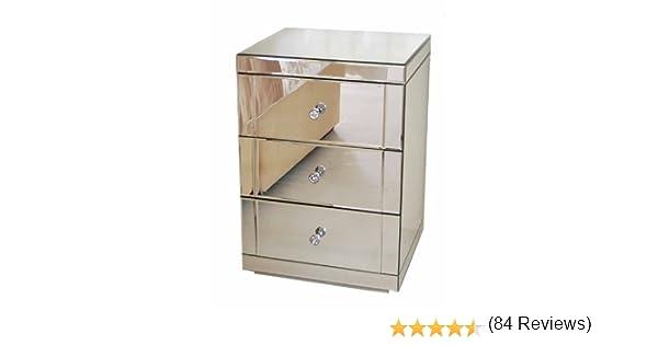 Comodino a specchio a 3 cassetti LUCIA serie CHELSEA My-Furniture