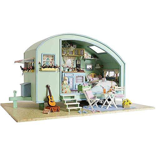 DIY Wooden DollsHouse Handcraft Miniatur Kit-Spieluhr Caravan Modell Voice Controller Spieluhr, Spielset für Kinder und Erwachsene, Weihnachten Geburtstagsgeschenk