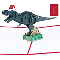 MULOVE Christmas Card - 3D Pop Up Dinosaur, Handmade Greeting Gift Card for Merry Xmas Best Wishes