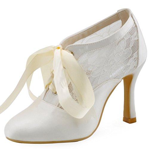 Elegantpark HC1529 Raso Pizzo Nastro Punta Chiusa Tacco Alto Stivaletti Scarpe da sposa Ballo Partito da Sera Avorio