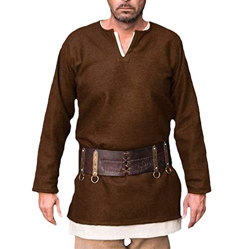 qiansu Herren Mittelalter Langarm-Hemd Renaissance Pirat Cosplay Kostüm Männer Karneval Robe Einfarbig V-Ausschnitt Langes Hemden S M L XL XXL XXXL