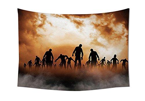 en Wandteppich für Zombies Dead Herren Body Walking in die Doom Mist bei Dark Night Sky Haunted Decor Schlafzimmer Wohnzimmer Wohnheim Decor orange schwarz, multi, 80W By 59L Inch (Dies Ist Halloween-film-zeichen)