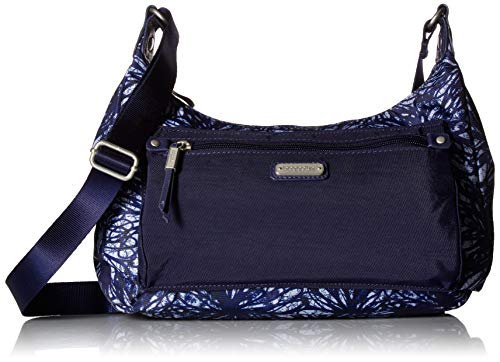 Baggallini Out and About Tasche mit RFID-Telefon-Armband, Indigoblumen-Design -