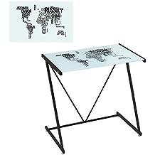 Mesa de escritorio de cristal negra moderna para dormitorio Factory - Lola Home