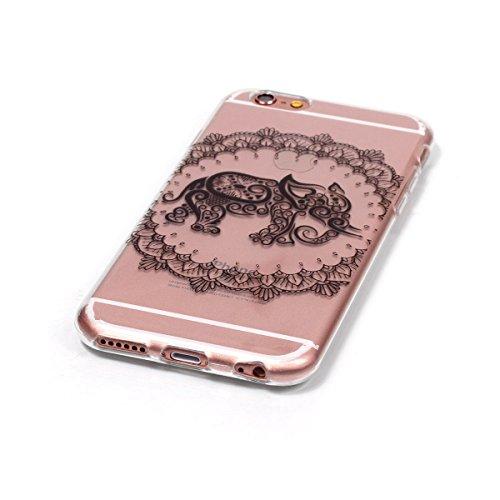 iPhone 6 Silicone Case,iPhone 6S Coque - Felfy Coque Souple Transparente TPU Silicone en Gel Case Premium Ultra-Light Ultra-Mince Skin de Protection Pare-Chocs Anti-Choc Bumper pour Apple iPhone 6/6S  éléphant Fleur CAS