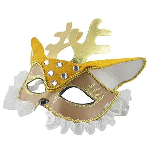 Bescita1 Maskerade Maske für Männer Frauen Party Sexy Halbmaske Glitter Augenmaske Cosplay Maske für Halloween Kostüm Party (Gold)