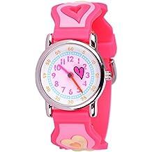 Wolfteeth Niñas Pequeñas Niños Niños Cute Reloj Muñeca Profesor, Personaje De Dibujos Animados 3D Corazón Rosa Cuadrícula 303601