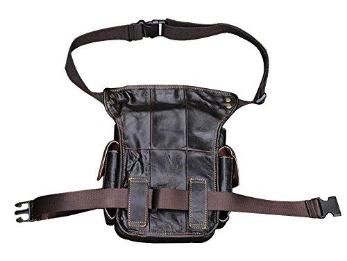 Genda 2Archer Echtes Leder Taille Beintasche Gebrauchsauto Oberschenkel Tasche (Braun) Vintage Braun